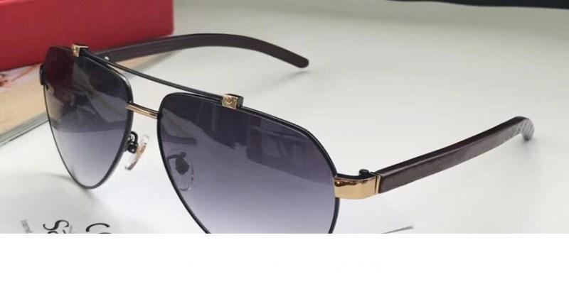 Nuevo marco de gafas de sol de lujo Pilotos de cuero Popular Vintage Piernas de madera Uv400 Lente Protección de calidad superior Ojo Estilo clásico con Packag