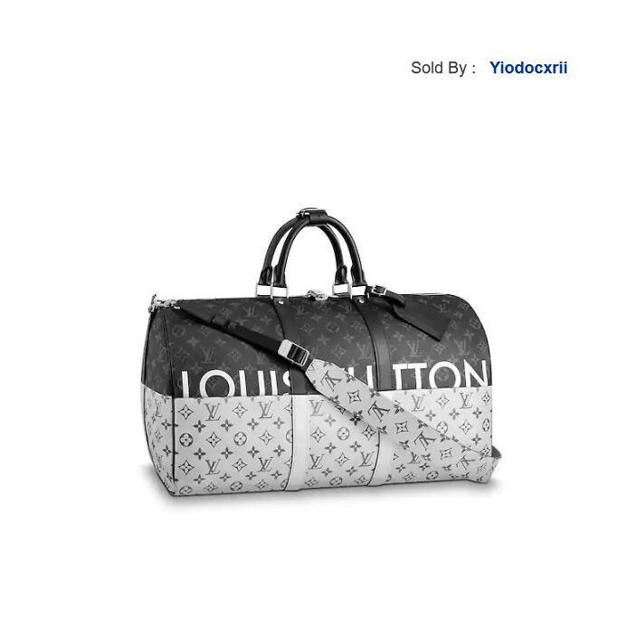 yiodocxrii UOFQ Edition Keepall50 Black Silver Shoulder Strap Travel Bag M43817 Totes Handbags Shoulder Bags Backpacks Wallets Purse