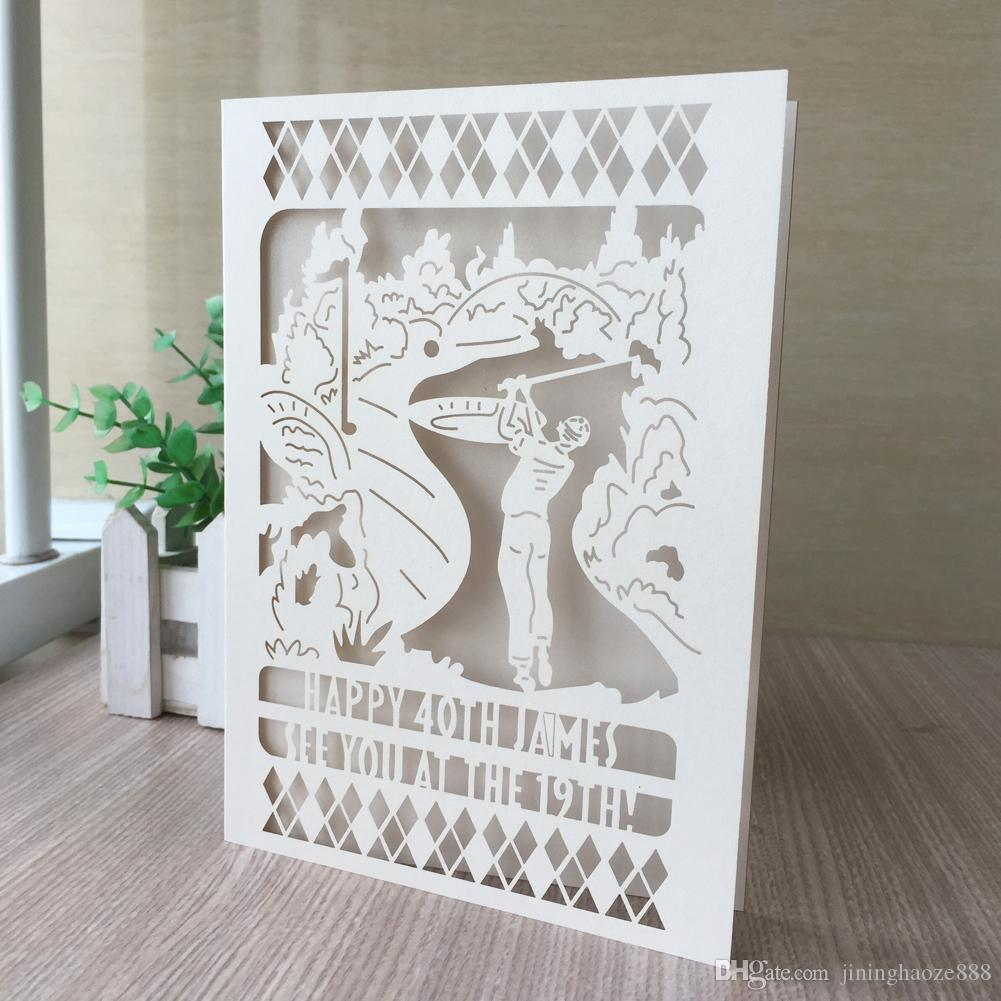100PCS /lot Play Golf Pattern The Private Ordering Wedding Invitation Cards Birthday Party Various Colors Supplies