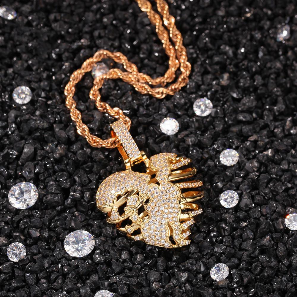 Joyería Hip Hop hip-hop Amor colgante, collar de cobre circón hombres de collar hueco Amor esqueleto