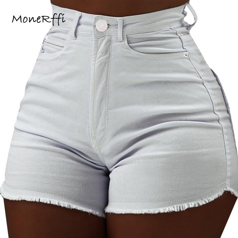Compre Monerffi Denim Shorts Para Mujer Ropa Para Mujer Jeans De Cintura Alta Verano Delgado Pantalones Cortos De Moda Pantalon Corto Cintura Alto Mx190712 A 6 88 Del Buyocean01 Dhgate Com