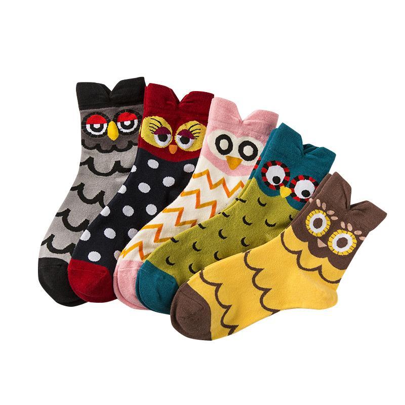 Mode femme Chaussettes Casual Mignons animaux hibou Conception socquettes Patterned Cartoon coton pour dames filles