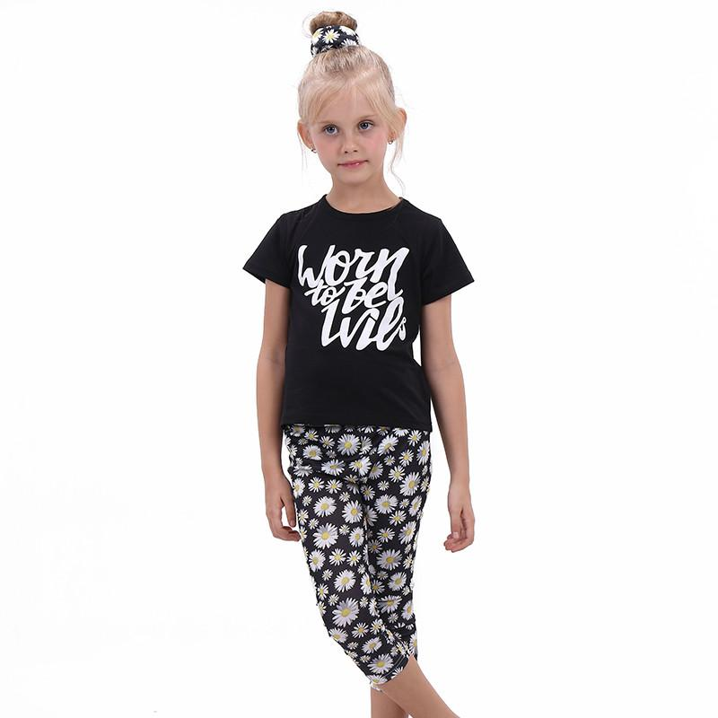 Girls Clothes Set Causal Girl Clothing Black Top+ Sunflower Print Pants+Headband Outfit 3 Pcs Sports Suit for Girls