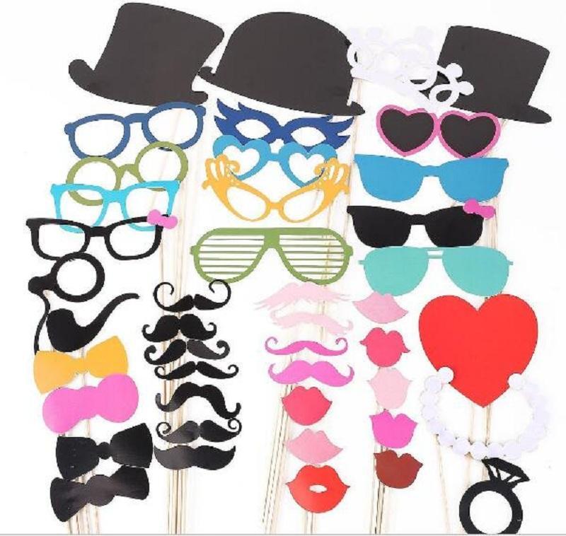 Bir Çubuk Maske Komik Düğün Fotoğraf üzerinde 44 Photo Booth Prop Bıyık Göz Gözlük Lips Yeni Festival Etkinlik Seti