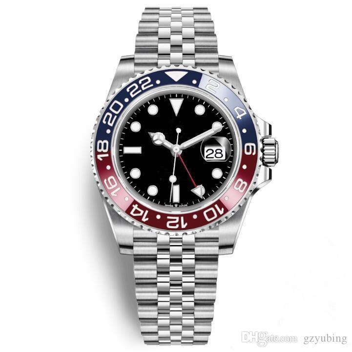 최고 품질 남성 손목 시계 블루 레드 세라믹 베젤 스테인레스 스틸 펩시 시계 기계 자동 GMT 운동 손목 시계