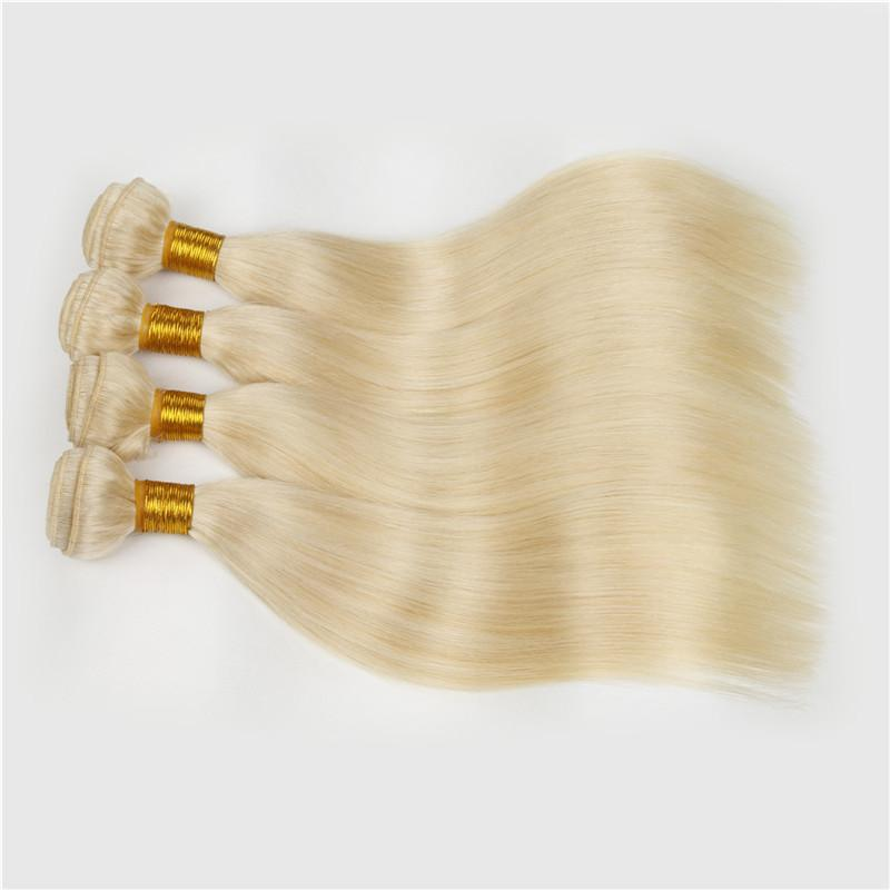 Grade 7A unprocessed 613 Platinum blonde silky straight brazilian virgin hair 4pcs lot bundles 10-32inch Fast delivery by DHL