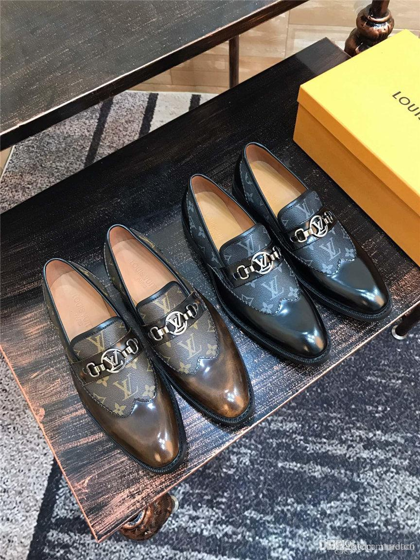 19fw роскошные бренды лакированная кожа оксфорд обувь для мужчин платье обувь мужчины формальные туфли острым носом бизнес свадебная обувь Sepatu Приа YETC6