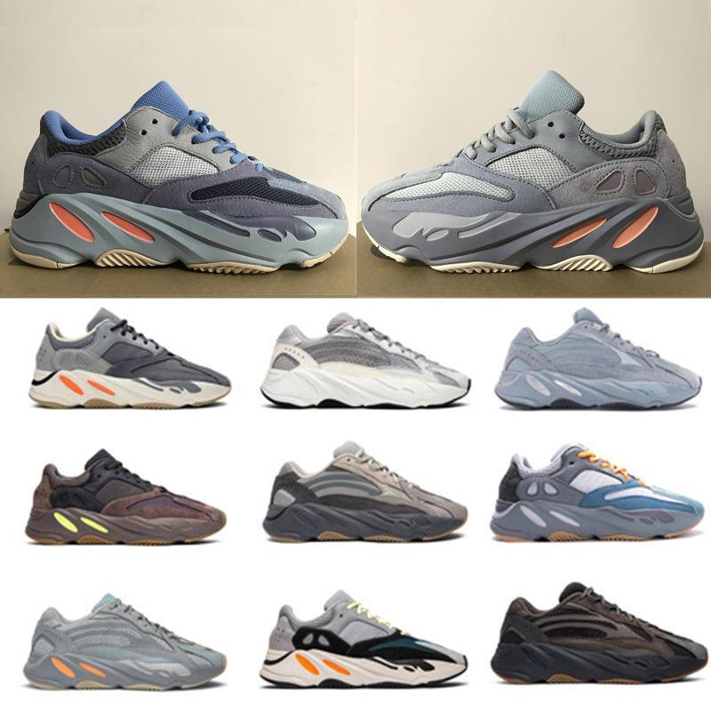 Nuevo 700 carbono azul del trullo imán de los zapatos corrientes de onda Kanye West reflectantes zapatillas de deporte para hombre Womens Hospital zapatos deportivos estilista sólidas