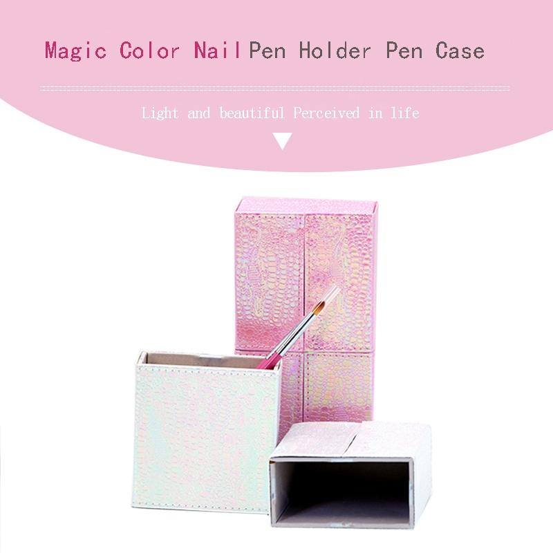 1Pcs Mermaid Fish Scale Nail Brush Holder Storage Case Bag Cosmetic Pen Organizer Makeup Manicure Nail Art Tool Accessory