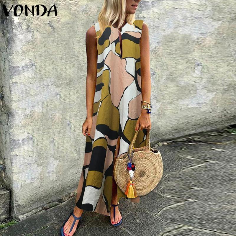 VONDA mujeres bohemias Maix largo vestido de verano 2019 Impreso de la vendimia más el tamaño de vestido sin mangas ocasional de Split tobillo de longitud Vestidos