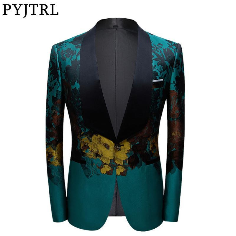 PYJTRL Nouveau design Blazer Hommes style vintage imprimé floral luxe costume vert Veste de mariage Groom Prom Slim Fit Robe Tuxedo