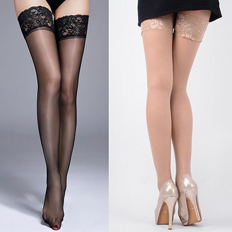 Top de encaje Medias Altas Rodilla calcetines de las mujeres de la correa de silicona antideslizante alto estiramiento del muslo medias atractivas del club nocturno Mujer Panti