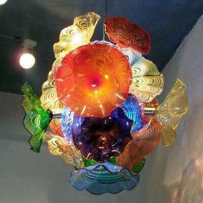 الإبداعية زهرة الثريات ضوء إيطاليا نمط مصباح مورانو لوحات قلادة مصابيح متعدد الألوان أدى انفجار الزجاج الثريا الإضاءة