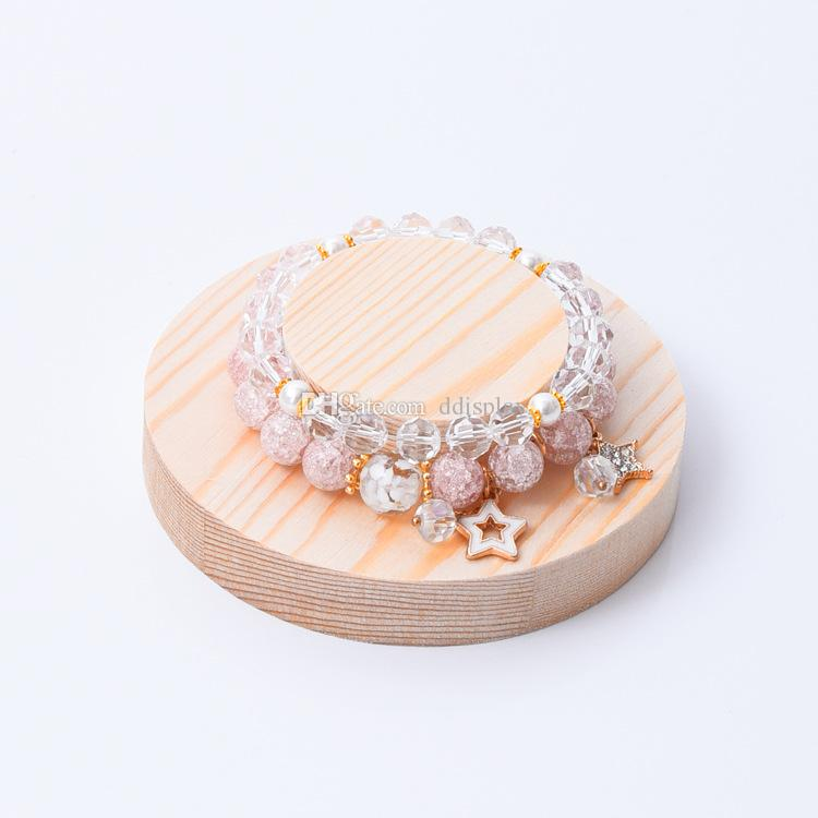 [DDisplay]Creative Double Layers Round Bracelet Display Tray Solid Wood Personalized Bangle Display Holder Wooden Ring Display Stand