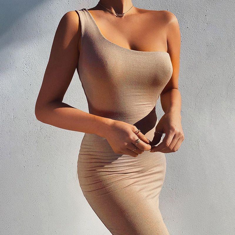 new Summer Style Women Bandage Dress Sleeveless Bodycon Sexy Night Club Party Dresses Midi Tank Casual Pencil Single shoulder vest