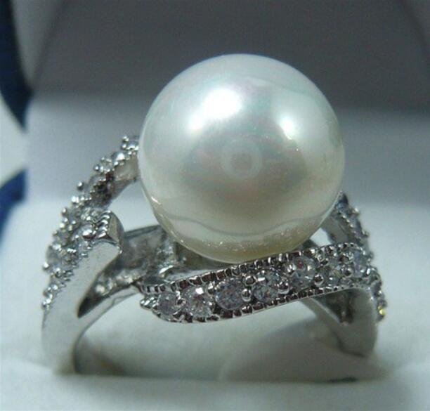 Jewelryr Pearl Ring Noblest 12mm concha blanca perla 18KGP anillo (# 7.8.9) Envío gratis
