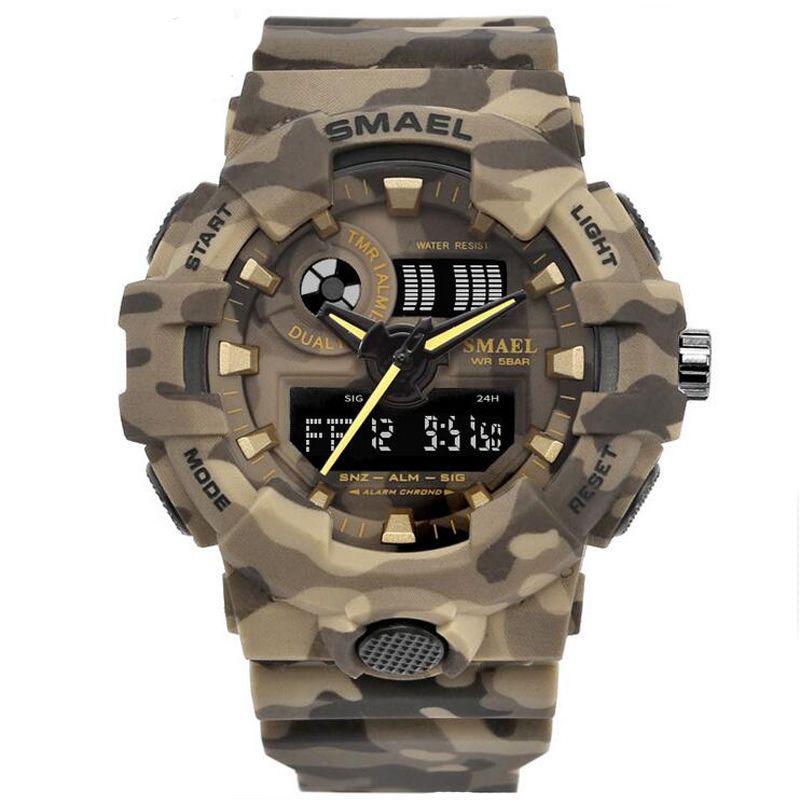 Nuevo camuflaje Reloj Militar SMAEL Marca Sport relojes de cuarzo Reloj LED de los hombres reloj del deporte 8001 del reloj para hombre del ejército impermeable