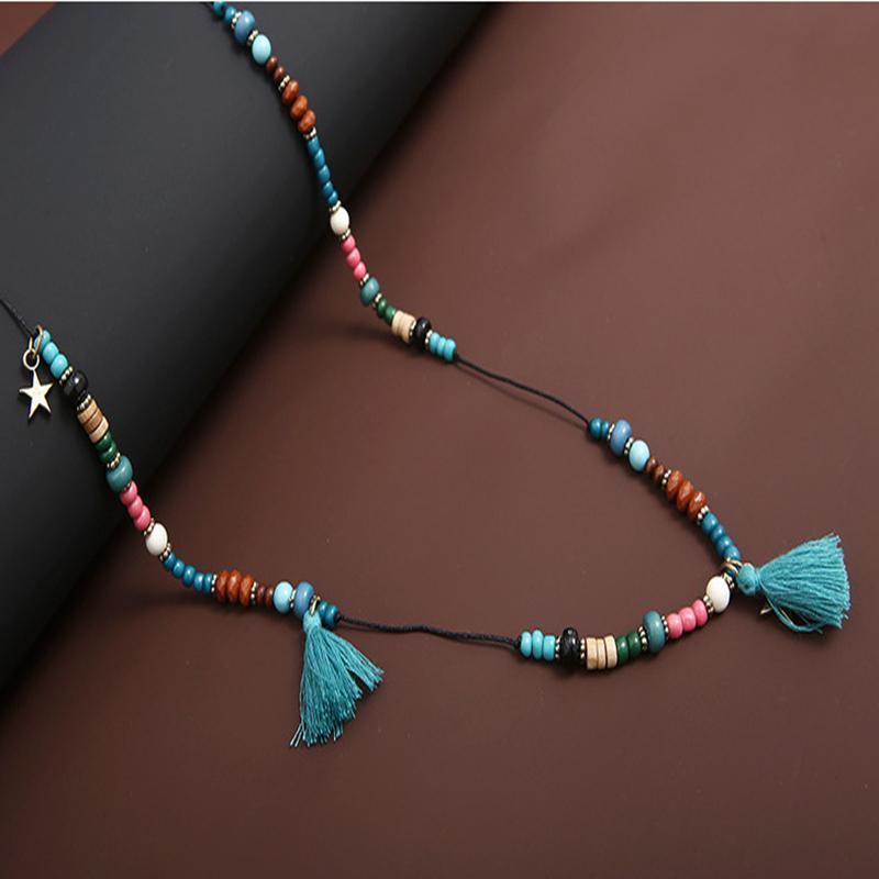 Grânulos com borlas camisola longa cadeia colar de inverno das mulheres presente para ela