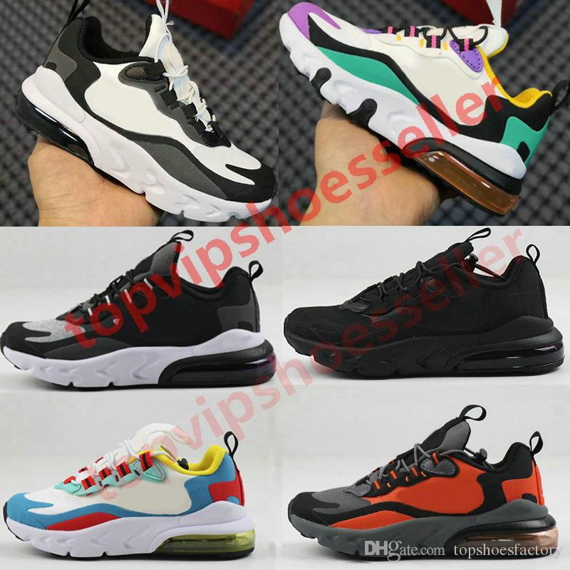 Nike air max 270 React Kid shoes Reagir Bauhaus TD sapatas das meninas do menino Running Shoes Black White Hiper violeta brilhante da criança Children Sneakers 24-35
