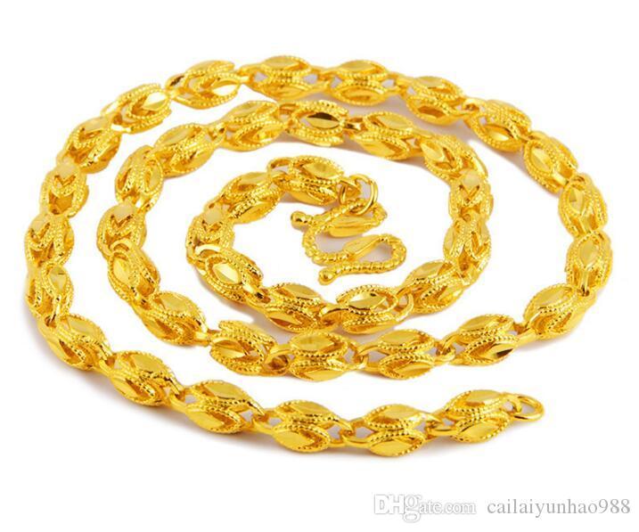 Superfície de areia de latão Puro banhado a ouro 24 k Ouro de areia de fogo Colar Colar dos homens do Vietnã Shajin