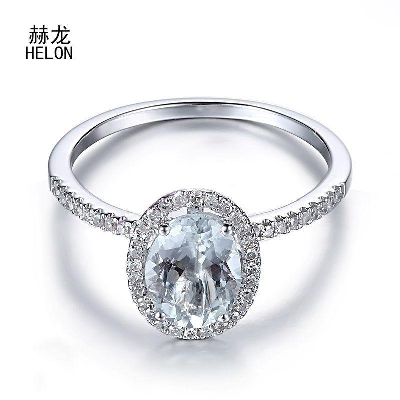 Certified Oval Aquamarine Gemstone Rings Solid 10k White Gold Engagement Diamonds Rings For Women Wedding Trendy Fine Jewelry S625