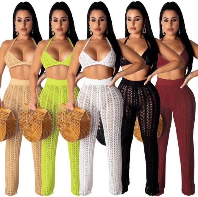 Vendidos malha Perspectiva Two Piece Set Mulheres Moda Backless tops e calças oco Out Feminino Spaghetti Strap Outfits Burgundy