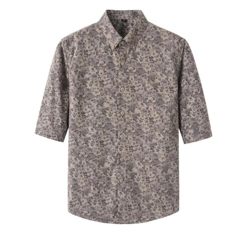 Британский стиль 2020 Summer Men Цветочные рубашки Brand New Половина рукава Печатные рубашки для мужчин Slim Fit Повседневный Блузка Homme Streetwear