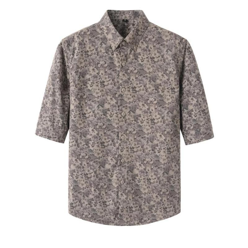 Estilo Británico 2020 Hombres camiseta de verano floral estrenar media manga impresos camisas para los hombres adelgazan la blusa ocasional Homme Streetwear