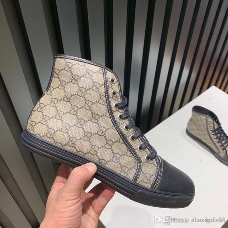 Alta qualidade sapatos de moda Designer de luxo high-top casuais esportes dos homens treinador sapatos de moda de couro confortáveis impressos sapatos