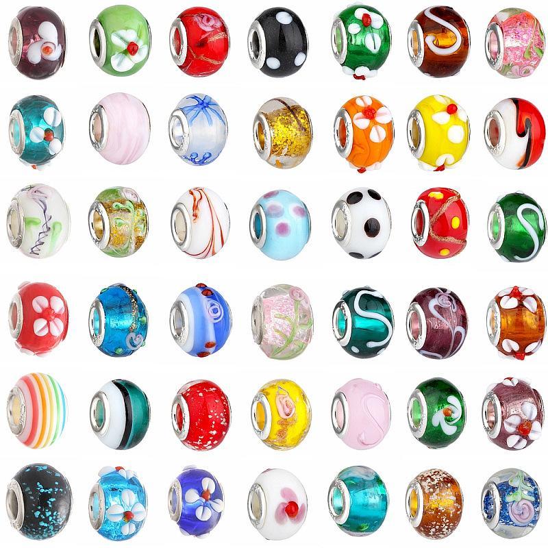 100 pz / lotto colore della miscela grande foro perline di cristallo di vetro fascino distanziatore allentato mestiere europeo in rilievo per il braccialetto collana risultati dei monili componente