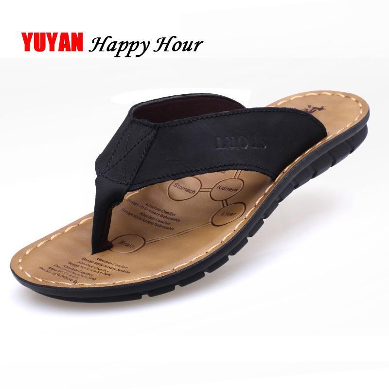2019 Chaussures D'été Hommes Pantoufles En Cuir Véritable Plage Pantoufles Hommes Flip Flop Sandales D'été Homme Chaussures Hommes Flip Flops KA673