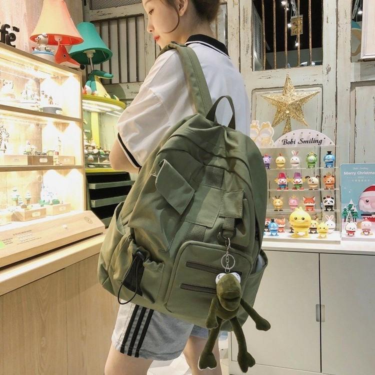 Frauen-Rucksack-Schule-Beutel für Mädchen Teenager Grün weichen Nylon Multifunktionale Taschen-Campus Schule Back Pack adretter Art