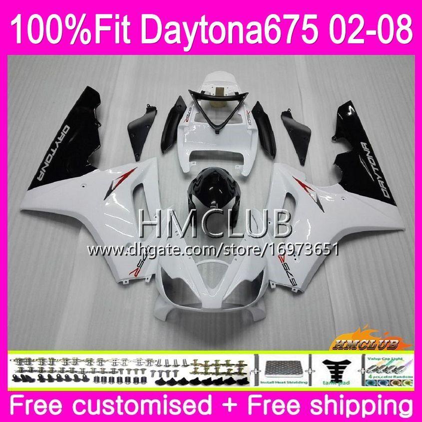 Injection Body For Triumph Daytona 675 02 03 04 05 06 07 08 43HM.4 Daytona675 2002 2003 2004 2005 2006 2007 2008 OEM White Gloss Fairing