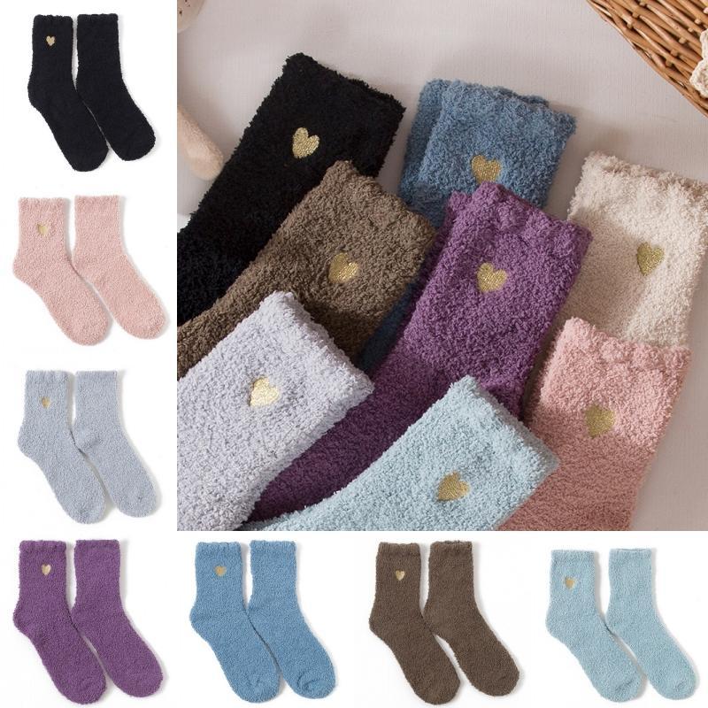 8 mujeres de los colores de otoño invierno mitad de terciopelo Fuzzy Calcetines 2020 suave y cómodo amor de las muchachas del corazón calcetines Espesar Calentar mullido Coral Medias M748F