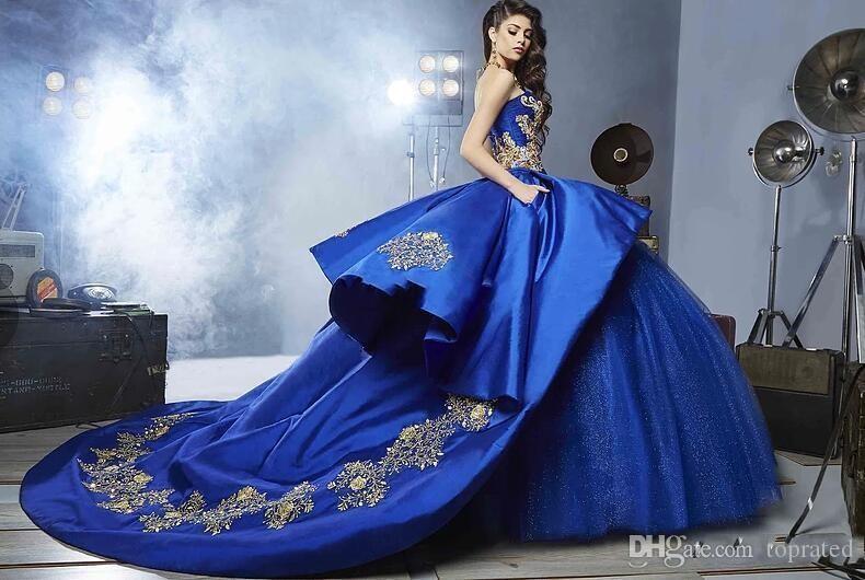 2020 robes de quinceanera bleu royal chérie perles robe de bal longueur au sol robe de bal robes de 15 anniversaire de fête d'anniversaire Sweet 16 robes