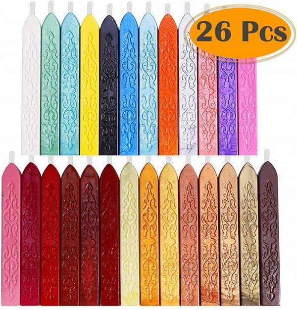 26Colors antica tenuta cera Bastoni con Wicks per affrancatura Lettera Retro sigillo di cera timbro Multi-Color Diy Seal Wax