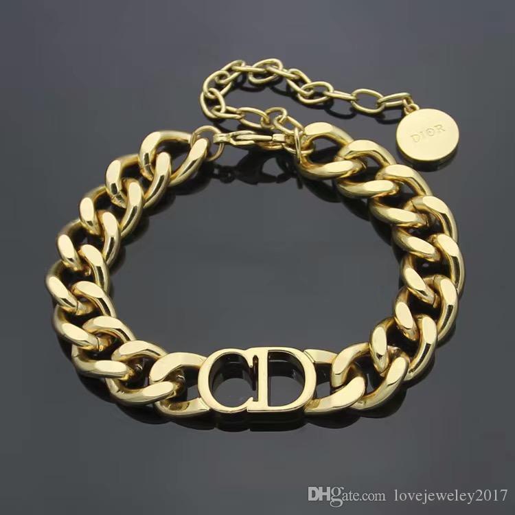 роскошные дизайнерские ювелирные изделия Мужские браслеты Золотой толстый цепной браслет с буквой D браслет из нержавеющей стали и ожерелье наборы мода ссылка