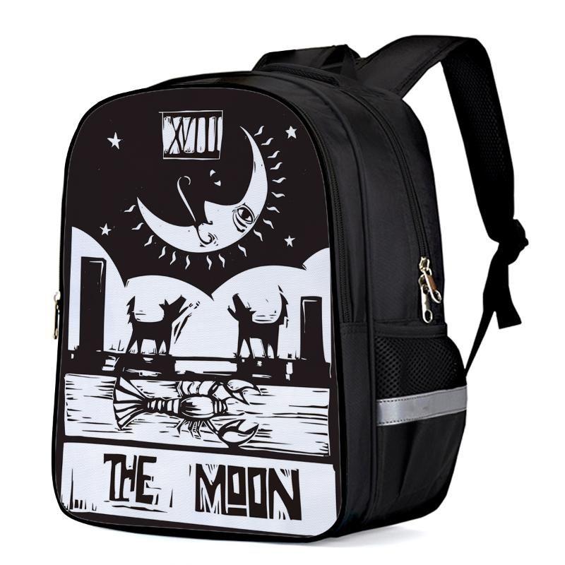 Ay-Siyah Beyaz Köpek Siluet Gece Laptop Sırt Okul Çantası Çocuk Kitabı Çanta Spor Çanta Yan Cepler Şişe
