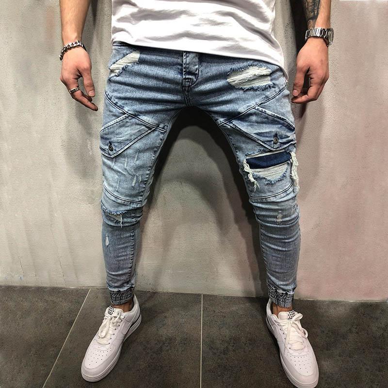 Mode Hommes Jeans hommes Slim Pantalon décontracté Pantalon élastique Bleu Clair Bleu Coton Loose Coton Jean pour homme
