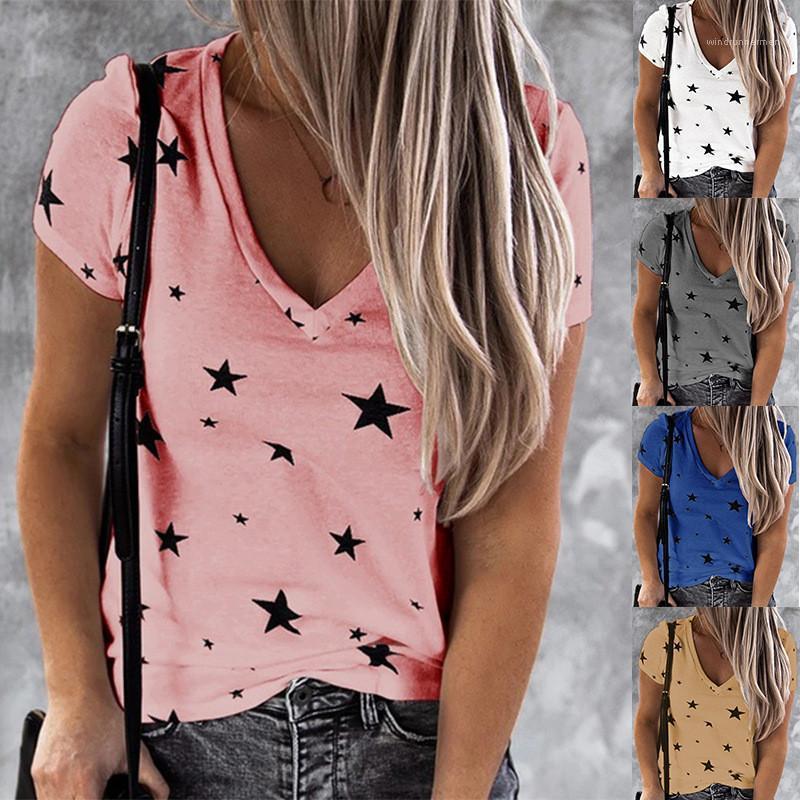 Лето V образным вырезом с коротким рукавом Повседневная одежда Famale Дамы Дизайнер Сыпучие Тис женщин Printed Star Tshirt