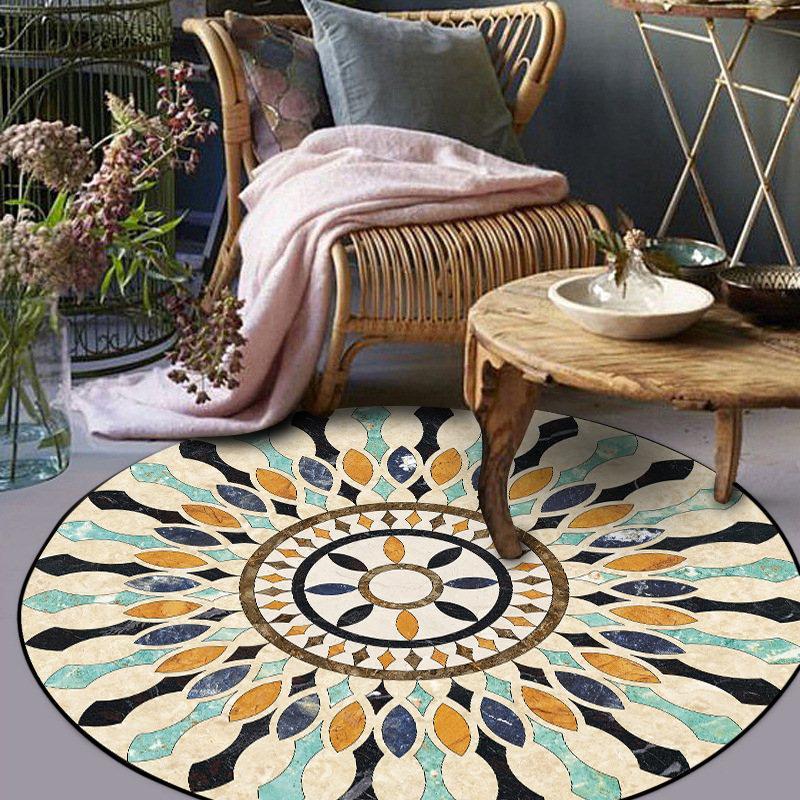 Мода ретро европейский паркет круглый ковер гостиной спальные коврики нескользящей детский коврик мягкий ковер 3d Bohemia Декоративные
