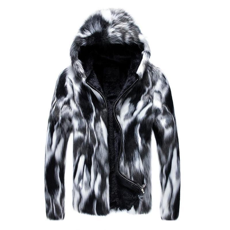 Manteau d'hiver de manteau de fourrure des hommes de manteau des hommes avec le capot Parka surdimensionné des manteaux d'hommes de la veste chaude de fausse fourrure SH190822