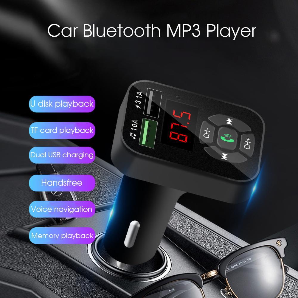 V5.0 Bluetooth MP3 Transmisor FM TF del jugador de 32G U disco Music Play Dual USB cargador de teléfono móvil manos libres