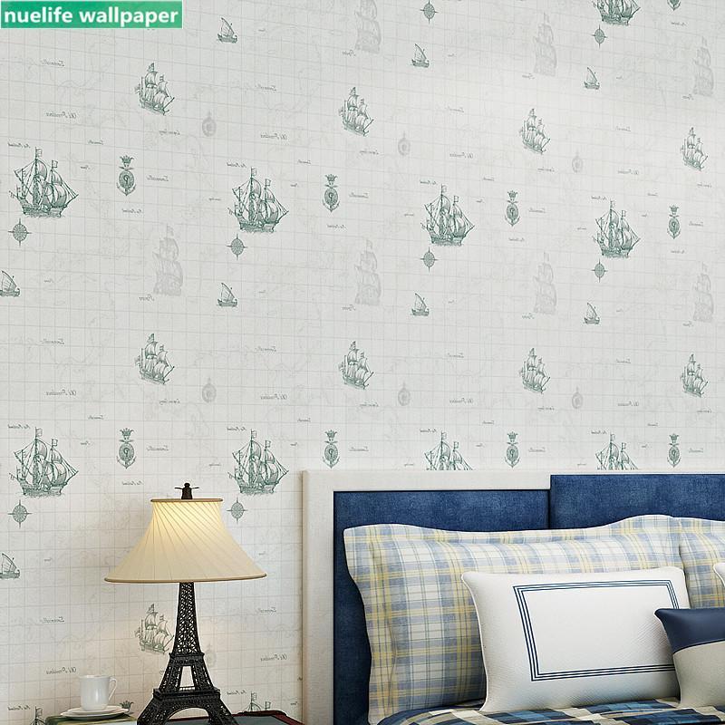 Sailing boat cartoon pattern non-woven wallpaper living room bedroom children's room kindergarten TV background wall paper