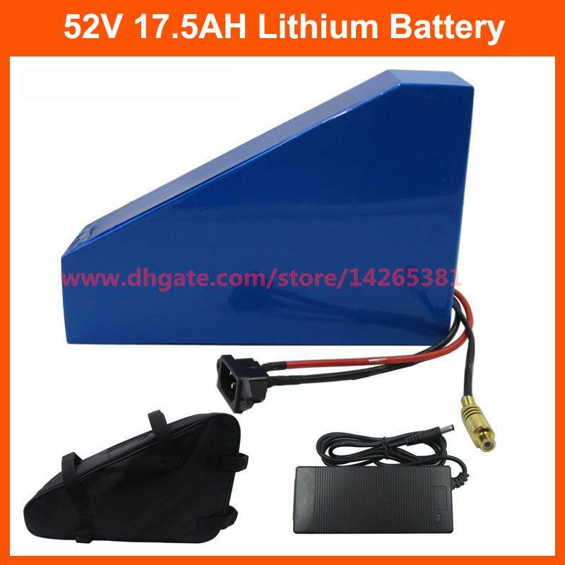 1000W 52V 리튬 배터리 51.8V 17.5AH 배터리 팩 52V 18AH 삼각형 ebike 배터리 사용 INR 35E 3500mah 셀 30A BMS 가방 포함