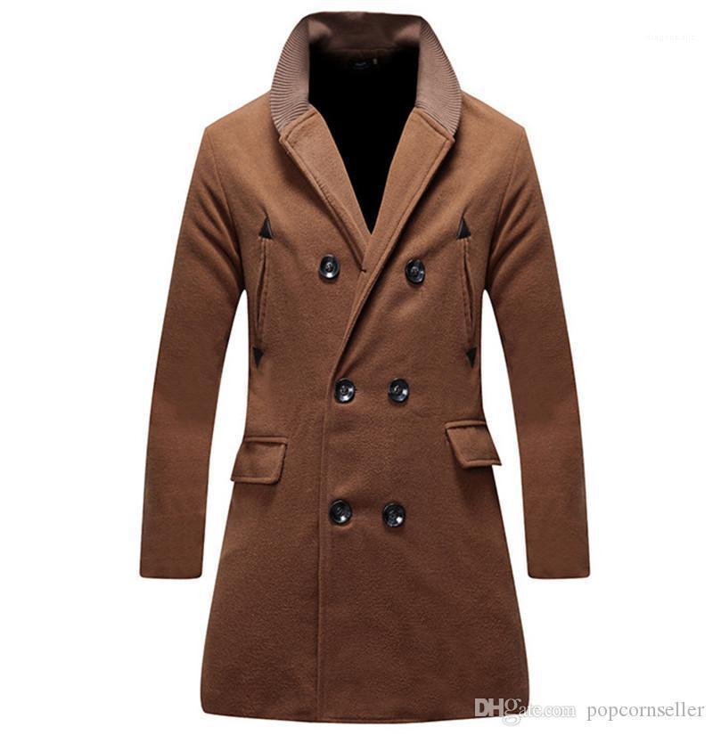 Kragen Solid Color Mode Mäntel Designer Mäntel New Herren Windjacke Herren Herbst und Winter Wolle Zweireiher Jacken Mandarin