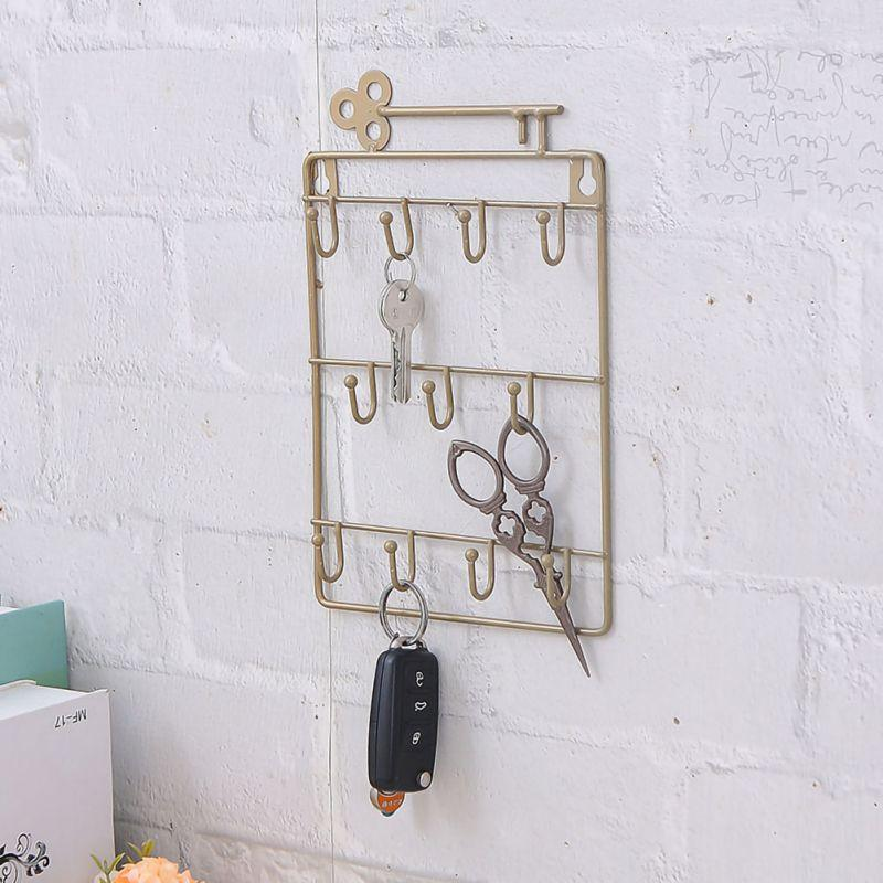 Fer Porte Décoration Crochet clé Porche forgé mur à trois couches clé en fer forgé Support de rangement Crochet en fer forgé Support de rangement