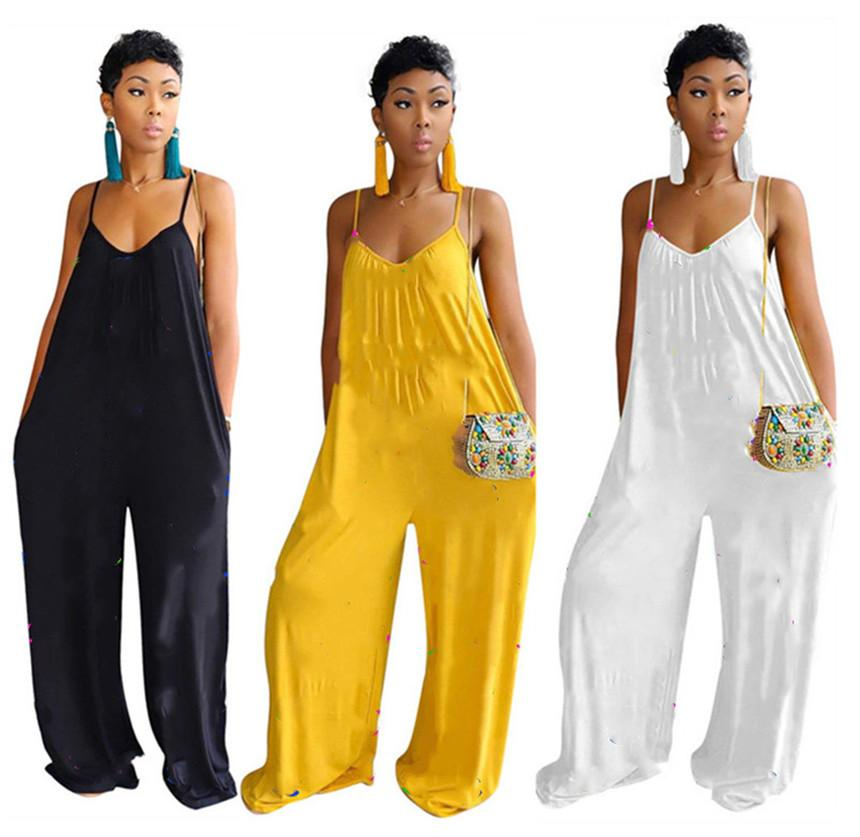 Women letter print jumpsuits spaghetti strap rompers sleeveless bodysuit fashion clubwear summer clothing sexy loose one piece pants 1042