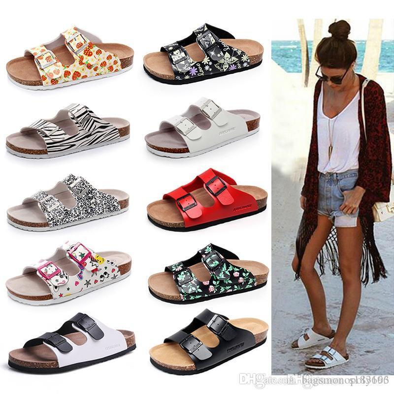 33 colorean venta de Arizona caliente del verano mujeres de los hombres de los planos zapatillas sandalias de corcho unisex zapatos casuales imprimen colores mezclados flip flop