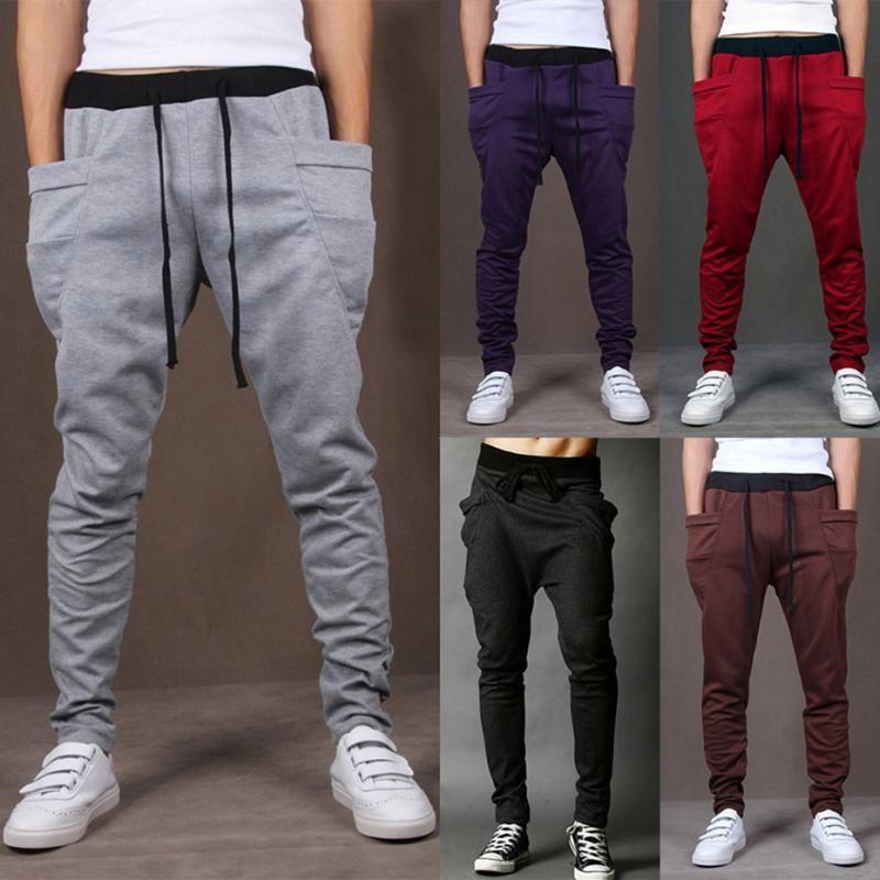 2020 Cotton Männer Voller Sport Hosen-beiläufige elastische Baumwolle Mens Fitness Workout Hosen dünne Hosen Jogginghose Jogger